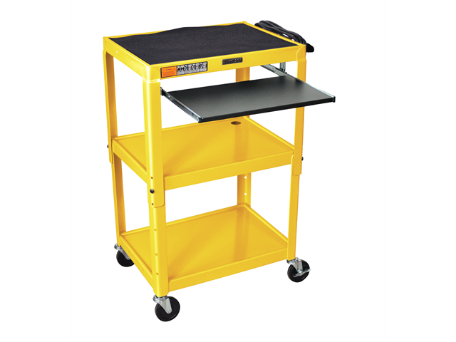 Luxor 3 Shelf Adjustable Height Metal Multimedia Multipurpose Rolling Storage Utility Computer Workstation Cart with Pullout Keyboard Tray Yellow