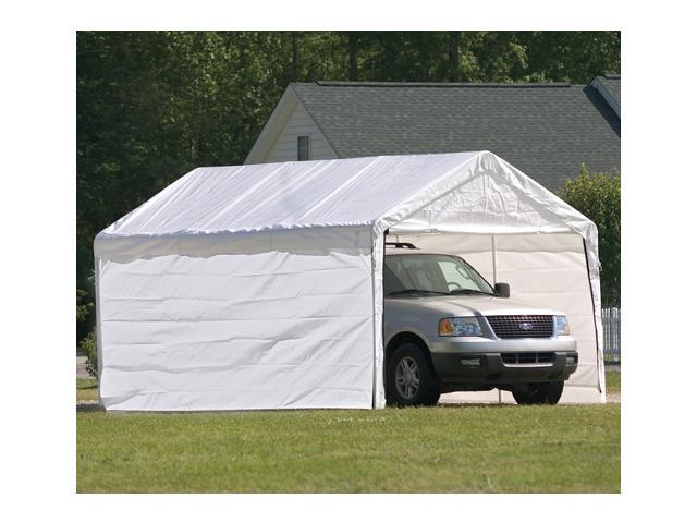 ShelterLogic 23572 10 ft. -20 ft.  Canopy, 2 in.  8-Leg Frame, White Cover, Enclosure Kit