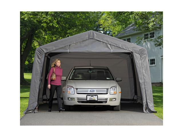ShelterLogic 62697 12-16-8 Peak Style Shelter, 1-.38 in.  5-Rib Frame, Grey Cover