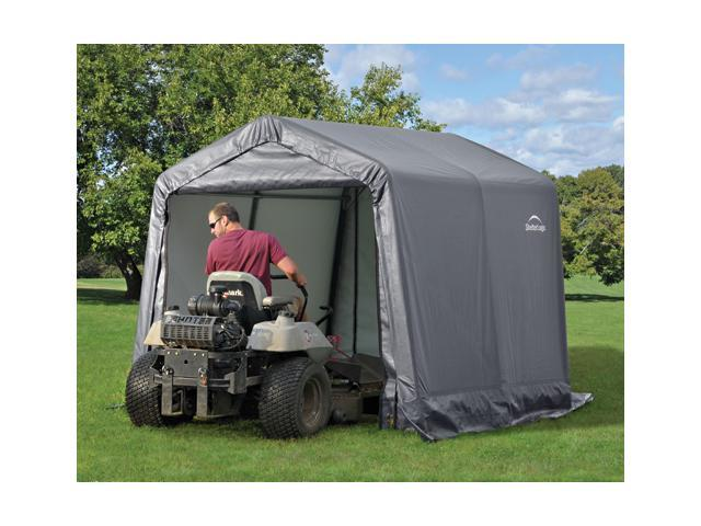 ShelterLogic 70423 8×8×8 Peak Style Storage Shed, 1-.38 in.  Frame, Grey Cover