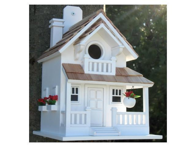Home Bazaar Backyard Bird Cottage - White - HB-9045WS
