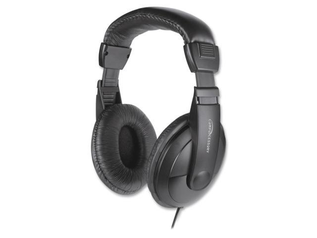 Compucessory CCS15155 Stereo Headphones with Volume Control, 71 in. Cord, Black