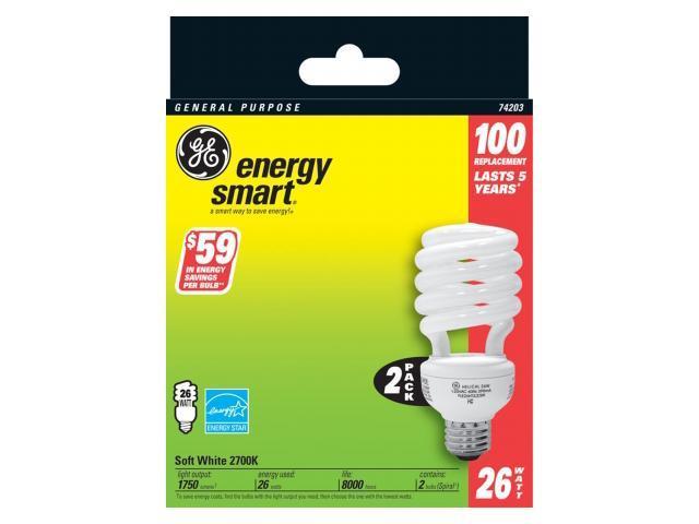 Compact Fluorescent Bulb, 26 Watt, T3 Spiral, Soft White