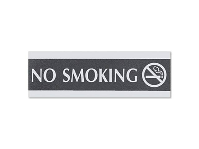 Century Series Office Sign, No Smoking, 9 x 1/2 x 3, Black/Silver