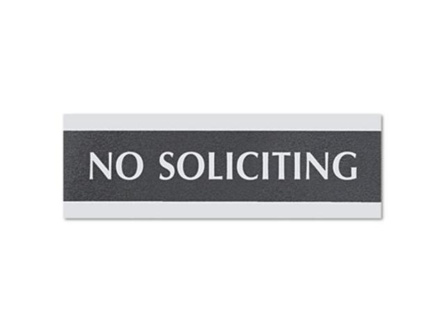 Century Series Office Sign, No Soliciting, 9 x 1/2 x 3, Black/Silver