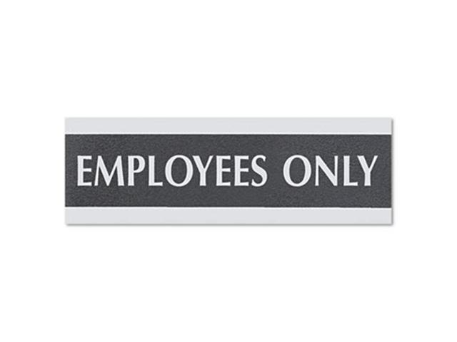 Century Series Office Sign, Employees Only, 9 x 1/2 x 3, Black/Silver