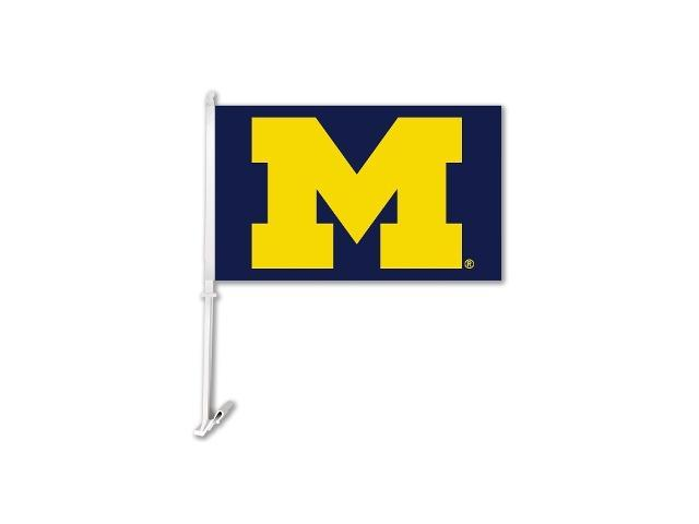BSI PRODUCTS 97103 Michigan Wolverines Car Flag with Wall Brackett