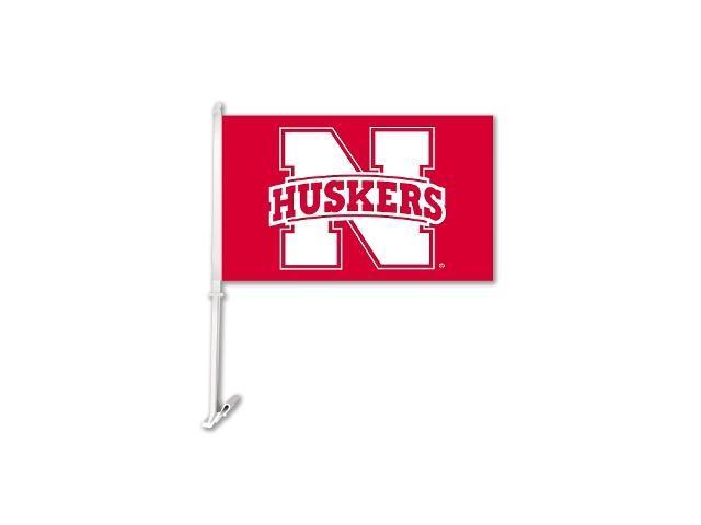 BSI PRODUCTS 97205 Nebraska Cornhuskers Car Flag with Wall Brackett