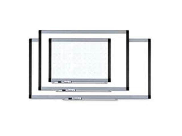 Lorell LLR69652 Magnetic Dry-erase Board- w- Grid Lines- 4ft.x3ft.- Silver-Ebony