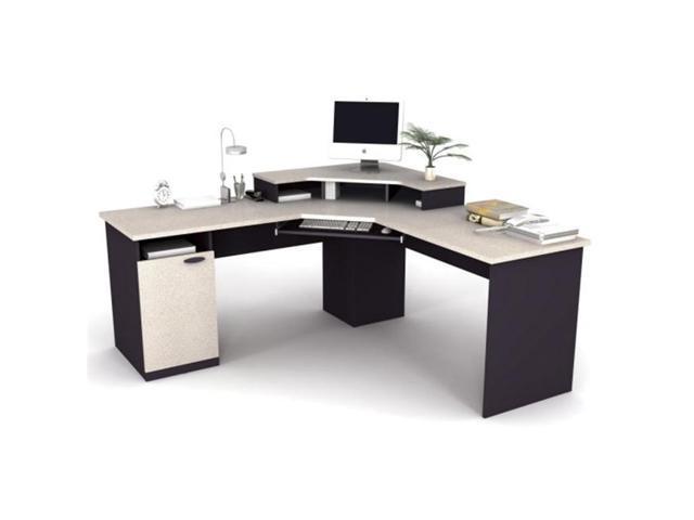 Bestar 69430 86 Hampton Corner Workstation In Sand Granite Charcoal Finish