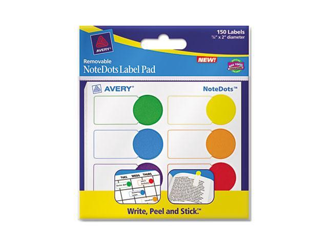Avery 45285 NoteDots Label Pad, .75 in. x 2 in. Diameter, Removable Self-Adhesive, Assorted, 150-Pack