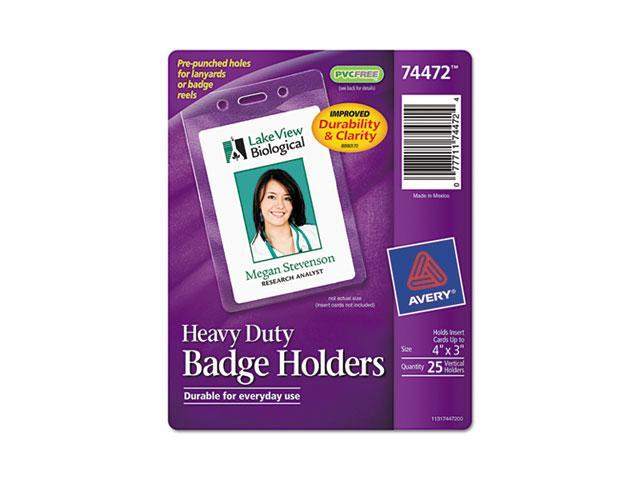 Avery 74472 Photo ID Badge Holder, Vertical, 3w x 4h, Clear, 25-Pack