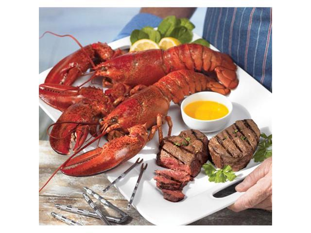 Lobster Gram STGR4Q SURF & TURF GRAM DINNER FOR FOUR WITH 1.25 LB LOBSTERS