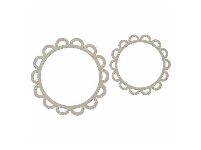 Die-Cut Grey Chipboard Embellishments-Flowers 2/Pkg - 6