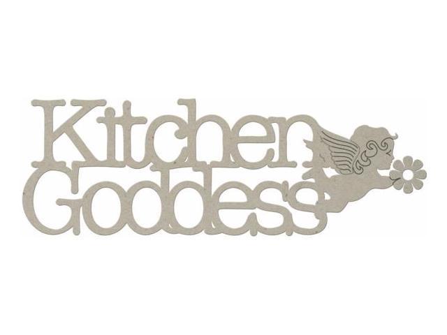 Die-Cut Grey Chipboard Word-Kitchen Goddess 6.25