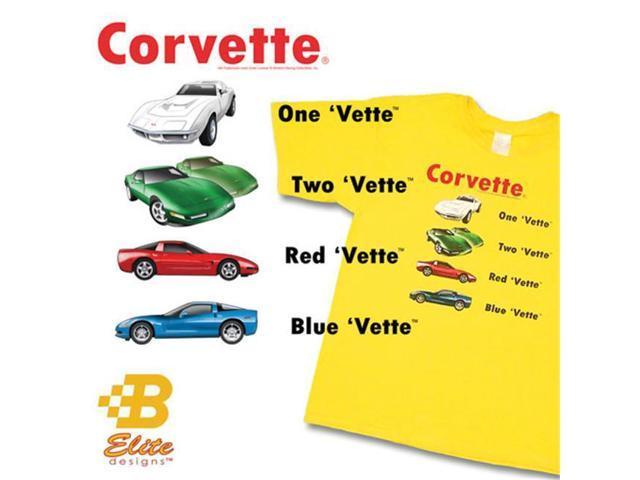 B Elite Designs BECMSTY814LG Children s 1 'Vette 2 'Vette Yellow Tee Shirt Large- 14-16