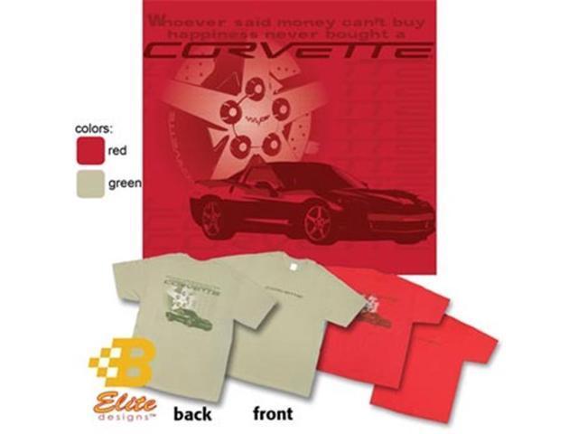 B Elite Designs BEC6ST842 -GRN-S C6 Corvette Happiness with Wheel Design Corvette Tee Shirt Serene Green- Small