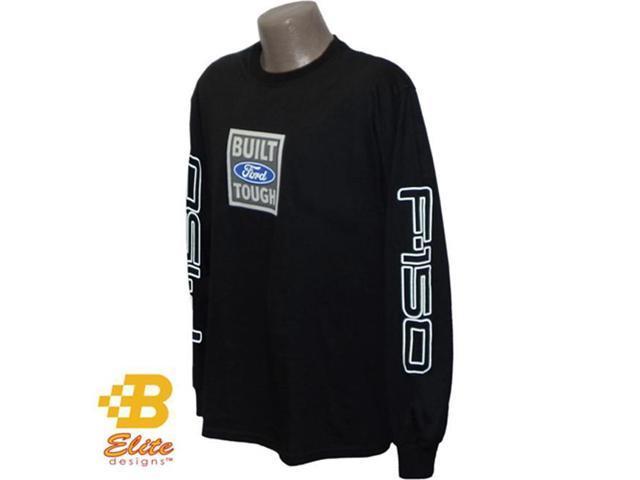 B Elite Designs BDFMST122 -BLK-S Ford F150 Built Ford Tough Black Long Sleeved Shirt Black- Small