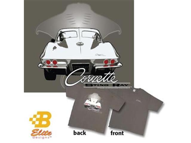 B Elite Designs BDC2ST848 -M C2 1963 Corvette Sting Ray on a Charcoal Grey Tee Shirt Charcoal- Medium