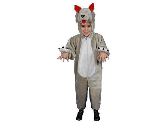 Dress Up America 379-M Kids Plush Wolf Costume - Size Medium 8-10