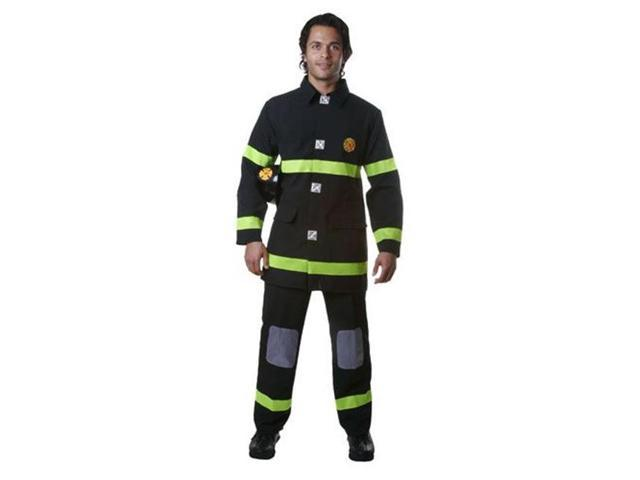 Dress Up America 340-XXL Adult Fire Fighter Costume in Black - Size XX Large