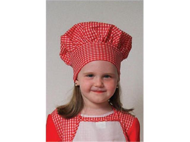 Dress Up America Red Gingham Chef Hat (kids)  closes with Velcro one size fits most kids H214