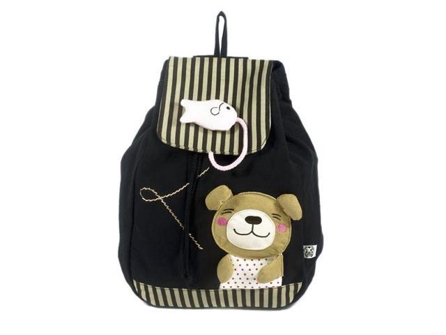 Blancho Bedding K123-1-BLACK Bear and Fish Fabric Art School Backpack / Outdoor Backpack