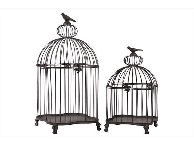 Urban Trends Collection 60125 22.85 in. H Metal Bird Cage Set of Two
