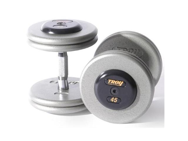 Troy Barbell HFDC-065R Pro-Style Fix Dumbbells With Gray Plates And Rubber End Cap - 65 Pounds - Sold as Pairs