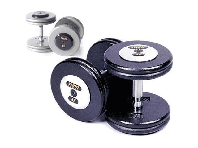 Troy Barbell HFDC-070C Pro-Style Dumbbells - Gray Plates And Chrome End Caps - 70 Pounds - Sold as Pairs