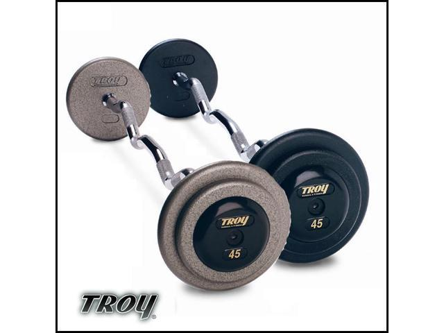 Troy Barbell HZB-055R Pro-Style Fix Curl Barbell - Gray Plates And Rubber End Caps - 55 Pounds