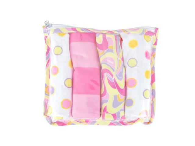Trend Lab 30148 GIFT SET - DR. SEUSS PINK OH, THE PLACES YOULL GO ZIPPER POUCH AND 4 BURP CLOTHS