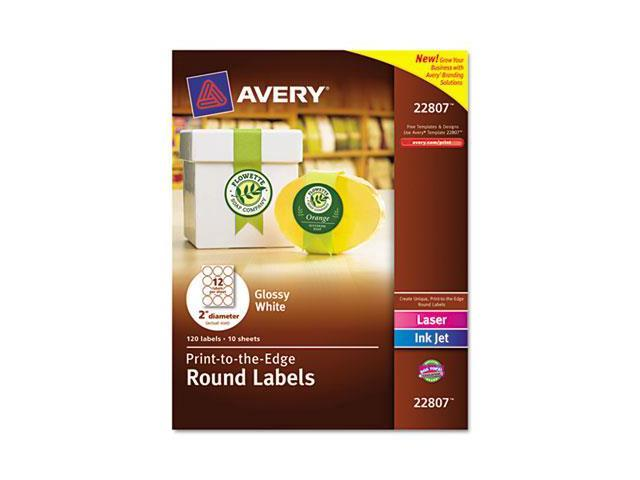 Avery 22807 Round Easy Peel Labels, 2 in. Dia., Glossy, White, 120-Pack