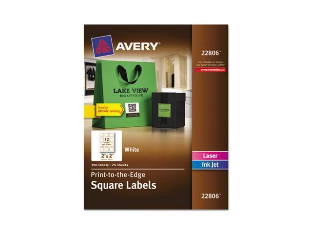 Avery 22806 Print-To-The-Edge Easy Peel Labels with TrueBlock, 2 x 2, White, 300-Pack