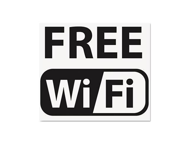 Us Stamp 6161 Self-Stick FREE Wi-Fi-Sign, Vinyl, 6 x 6, Black-White