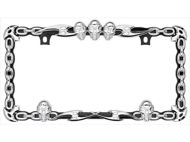 Cruiser Accessories 25135 Skull & Chain License Plate Frame, Chrome With Black