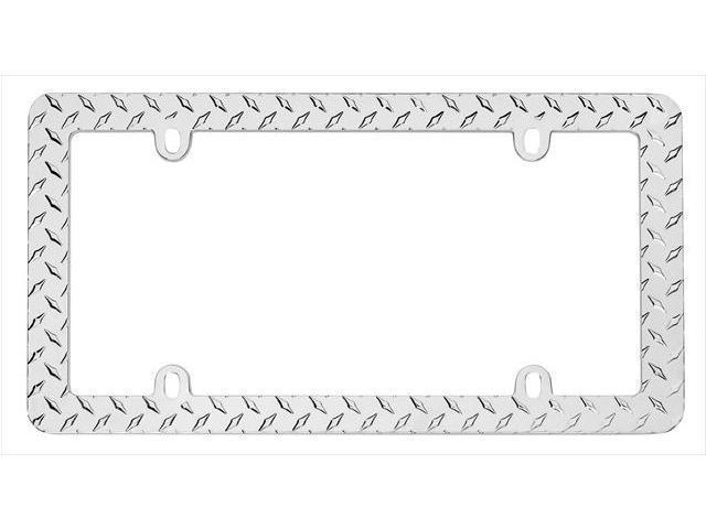 Cruiser Accessories 30830 Diamond Plate License Plate Frame, Chrome