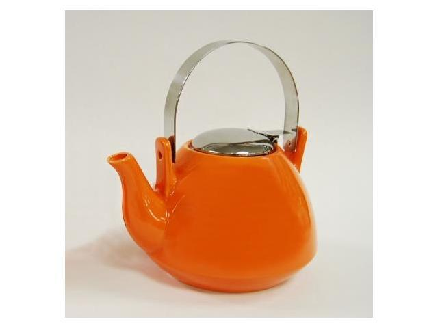 EVCO International 73283 Creative Home 36 oz. Orange Ceramic Tea Pot with Stainless Steel Lid, Handle and Infuser