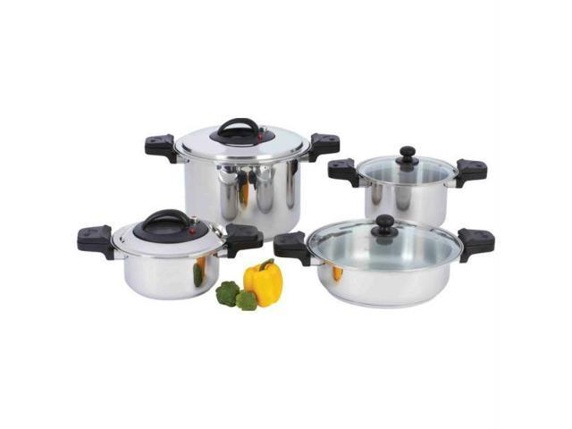 Precise Heat KTPC8 Precise Heat 8pc  in.waterless in. 12-element Stainless Steel Low-pressure, Pressure Cooker Set