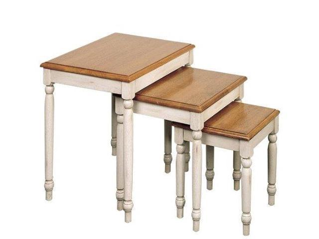 Office Star CC19 3pc. Nesting Tables in Country Cottage Buttermilk & Cherry Finish