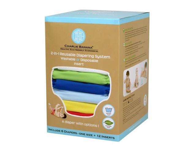 Charlie Banana 889180 Small Boy Diaper (Set of 6) - 12 Inserts