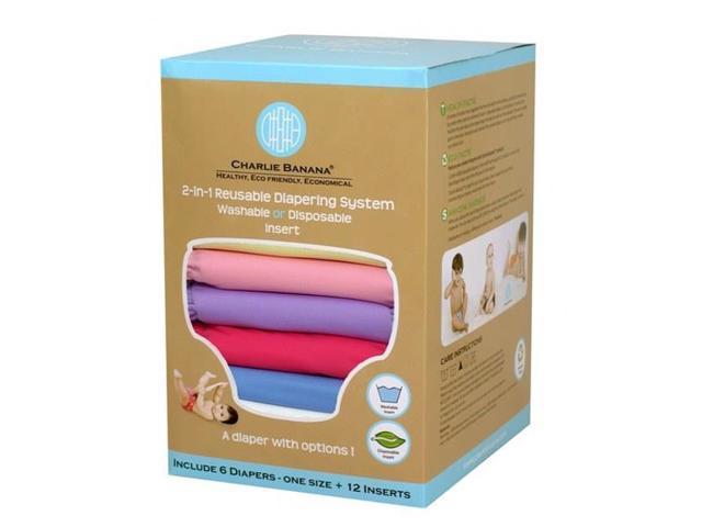 Charlie Banana 889185 Medium Princess Diaper (Set of 6) - 12 Inserts