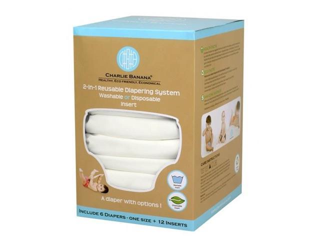 Charlie Banana 889446 Small All White Diaper (Set of 6) - 12 Inserts