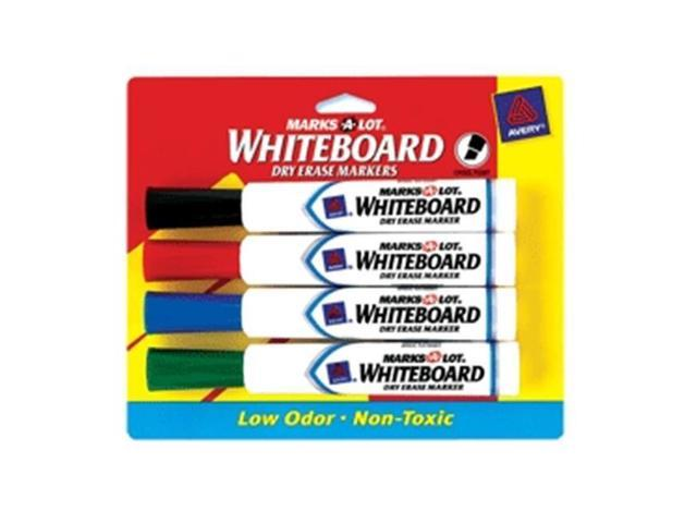 Marks-A-Lot Whiteboard Dry Erase Marker Asst 4 Pk Chisel 24409 Pack Of 6