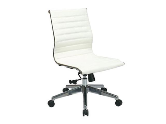 Office Star 73633 Mid Back White Eco Leather Chair without Arms, Polished Aluminum Frame and Base- White