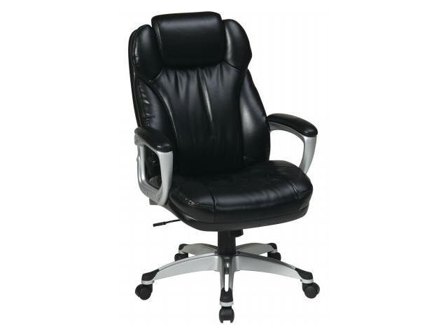 Office Star ECH85806-EC3 Executive Eco Leather Chair with Padded Arms, Coated Base and Built in Adjustable Headrest. Silver Frame with Black Eco Leather- Black