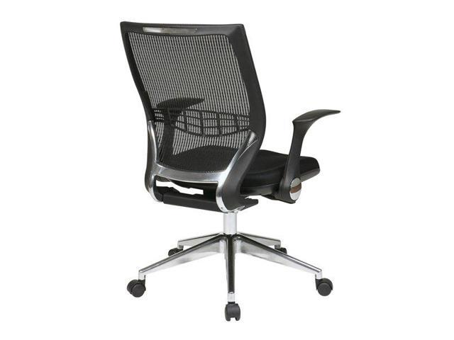 Office Star 80885AL-3 ProGrid Back Managers Chair with Flip Arms, Mesh Fabric Seat, Self Adjusting Control and Polished Aluminum ...