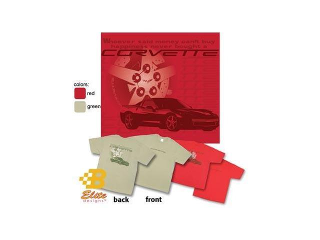 B Elite Designs BEC6ST842 -RED-S C6 Corvette Happiness with Wheel Design Corvette Tee Shirt Red- Small