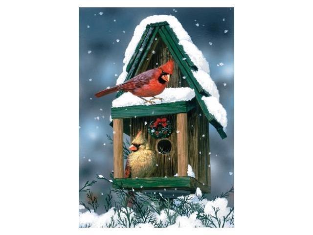 Toland Home Garden Cardinals In Snow House Flag