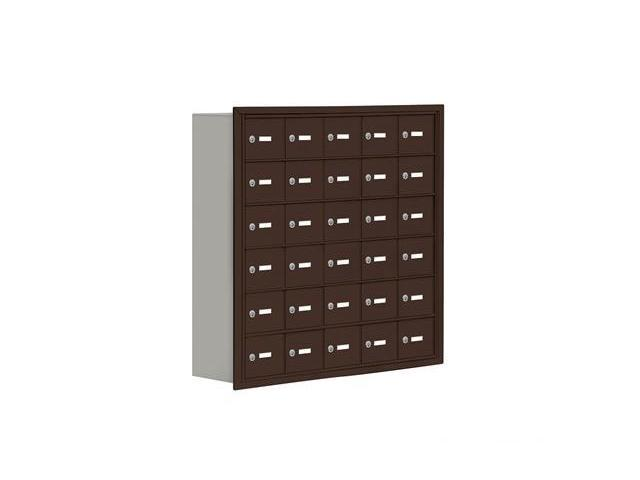 Salsbury 19068-30ZRK Cell Phone Storage Locker 6 Door High Unit - 8 Inch Deep Compartments - 30 A Doors - Bronze - Recessed Mounted - Master Keyed Locks